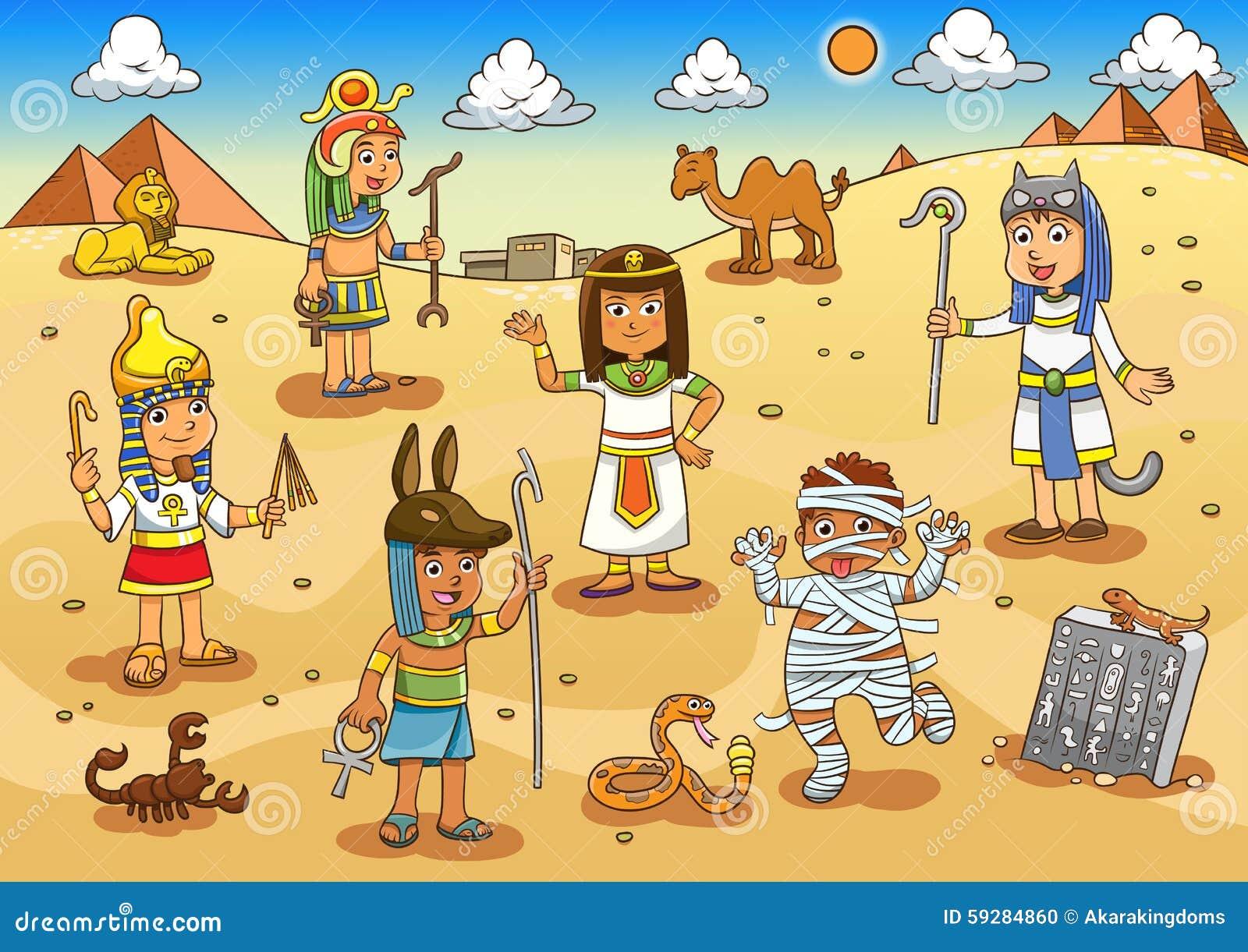 Illustrazione del fumetto del bambino dell egitto
