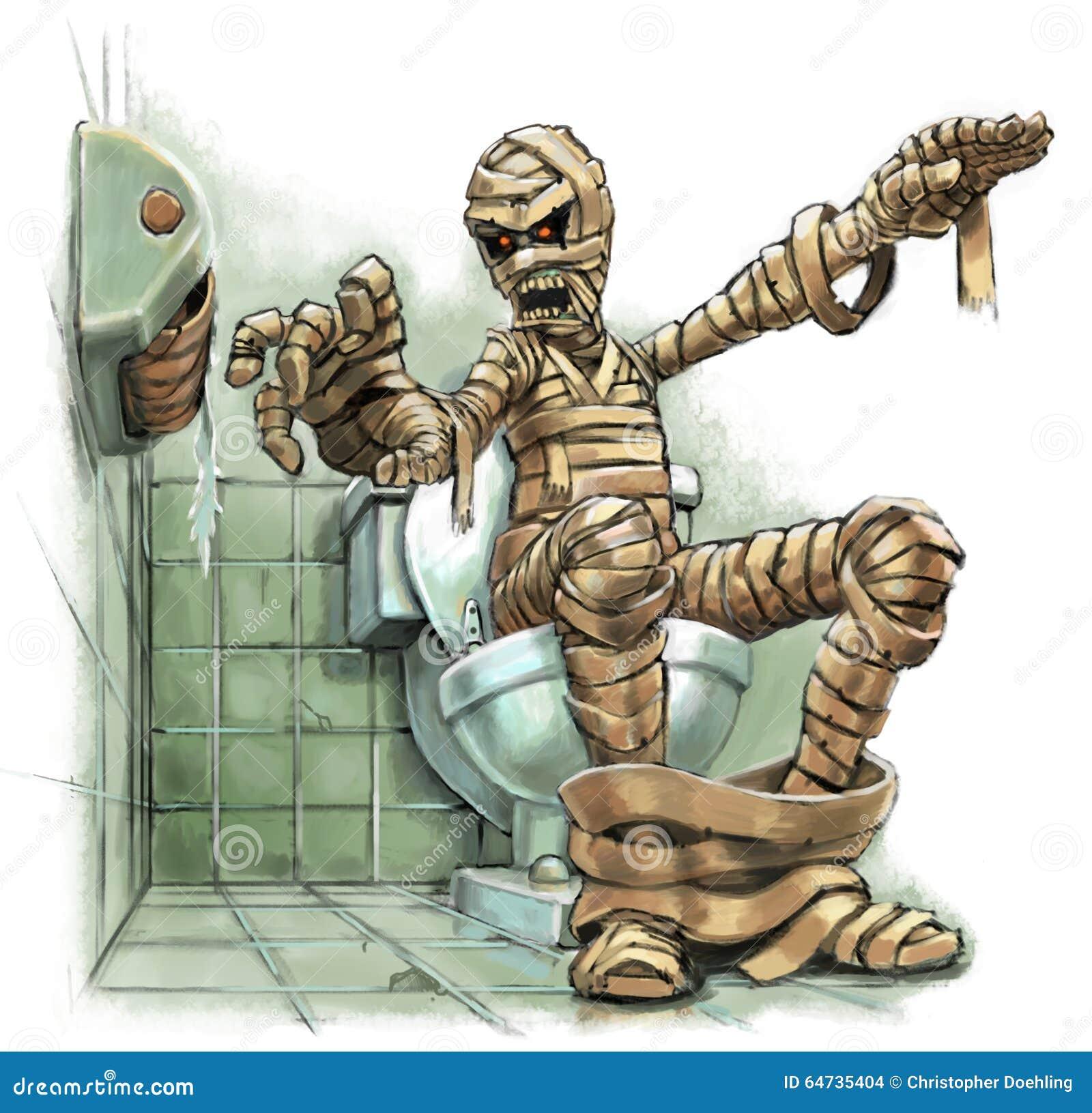 Illustrazione del fumetto di una mummia su una toilette con un rotolo vuoto