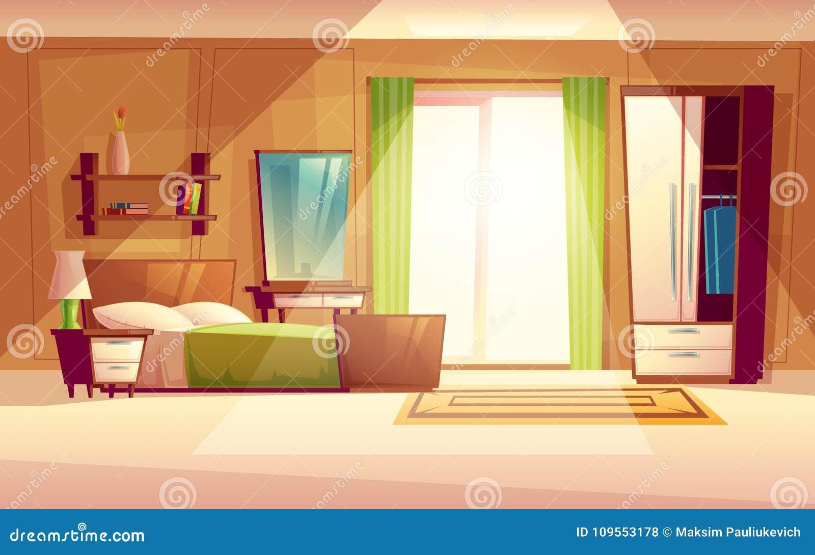 Illustrazione del fumetto di vettore di un interno della camera da letto illustrazione - La finestra della camera da letto ...