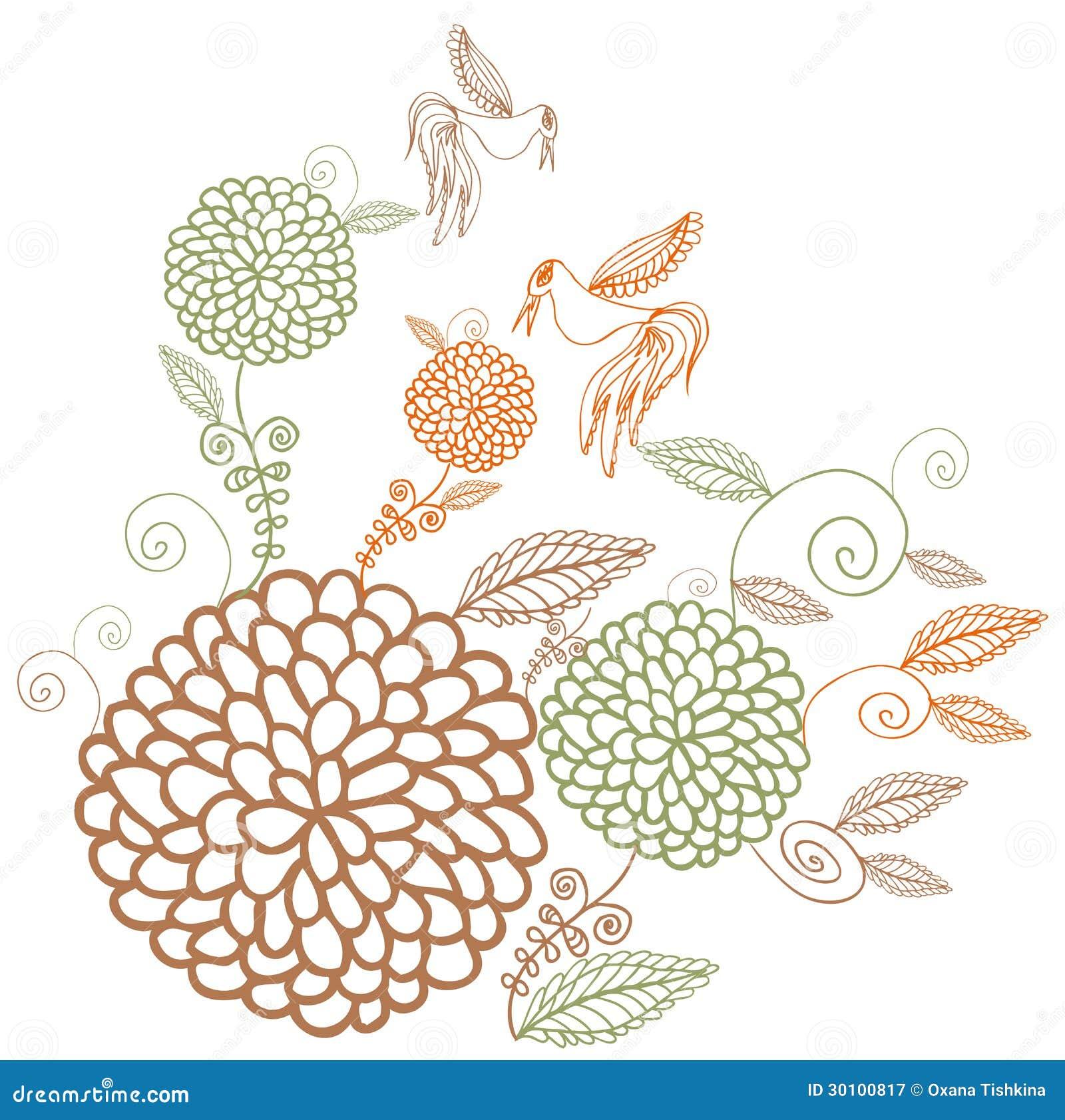 Fiori colorati dell 39 annata su fondo bianco illustrazione for Fiori stilizzati colorati