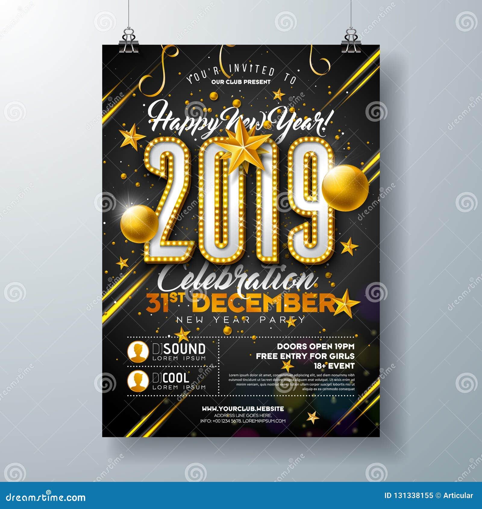Illustrazione del modello del manifesto di celebrazione del partito da 2019 nuovi anni con il numero della lampadina e palla di N