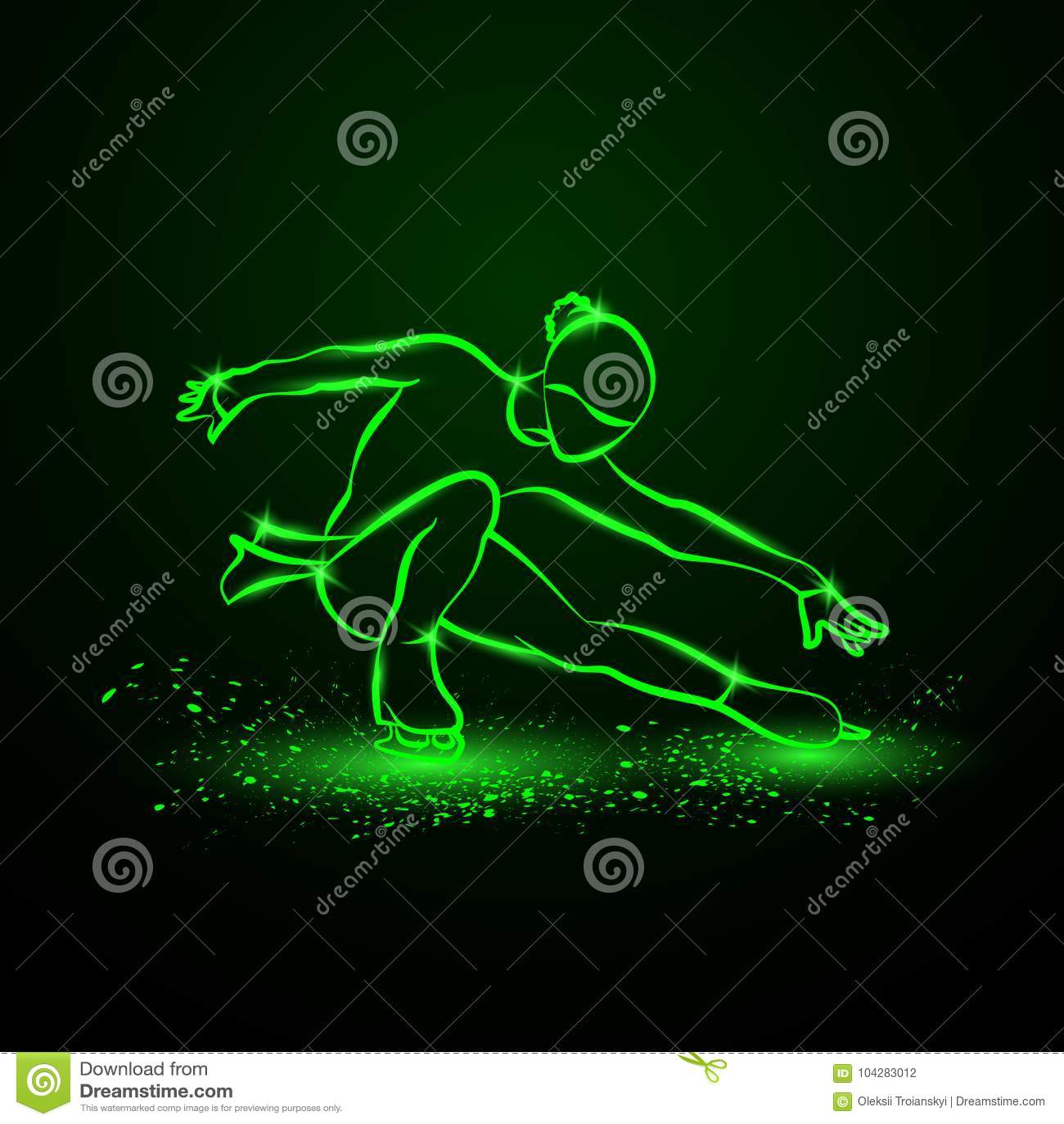 Illustrazione del neon di pattinaggio artistico La ragazza sui pattini esegue il suo ballo