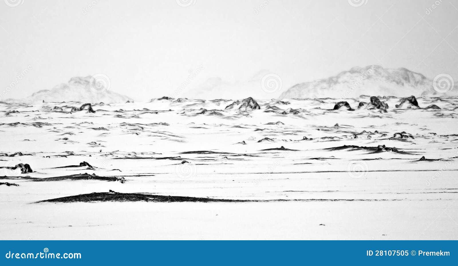 Illustrazione del paesaggio abbandonato di inverno