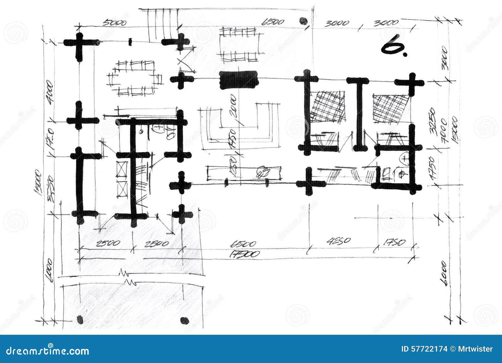 Illustrazione del pastello di un progetto della pianta - Disegno pianta casa ...