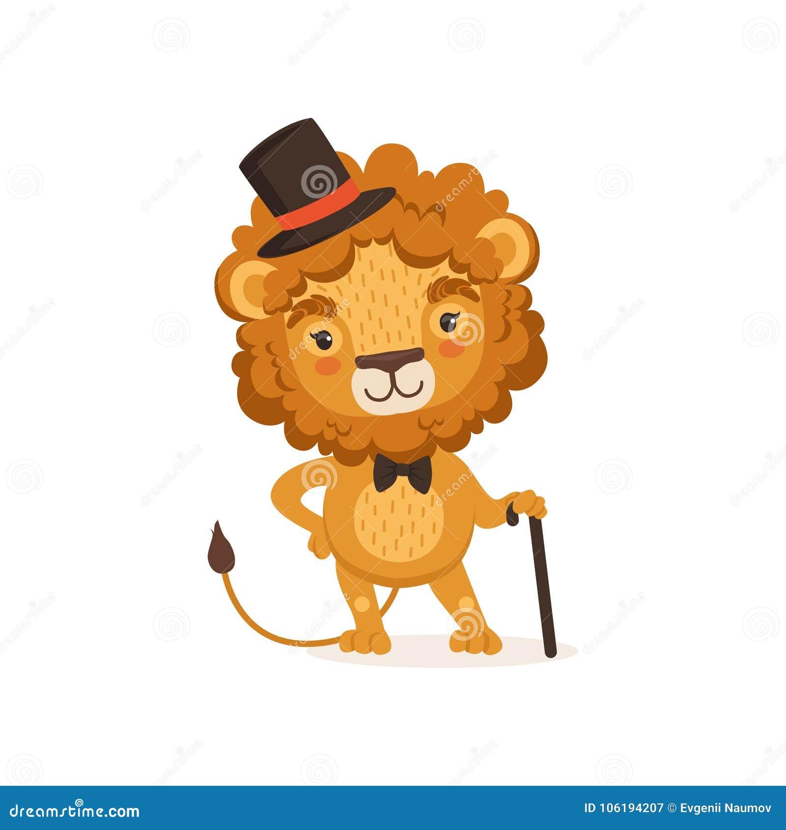 Illustrazione del personaggio dei cartoni animati del leone con la canna  nera e cappello e farfallino eleganti d uso del cilindro Animale con la  criniera ... 9ca1fcbd7a56