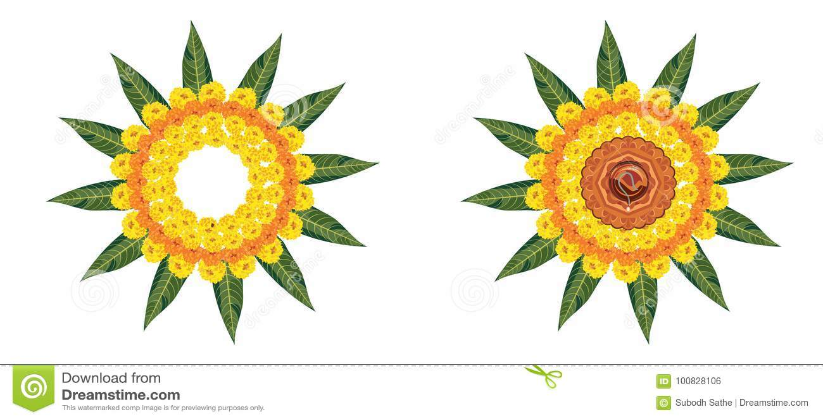 Illustrazione del rangoli del fiore per Diwali o pongal di riserva o del onam fatto facendo uso dei fiori di zendu o del tagete e