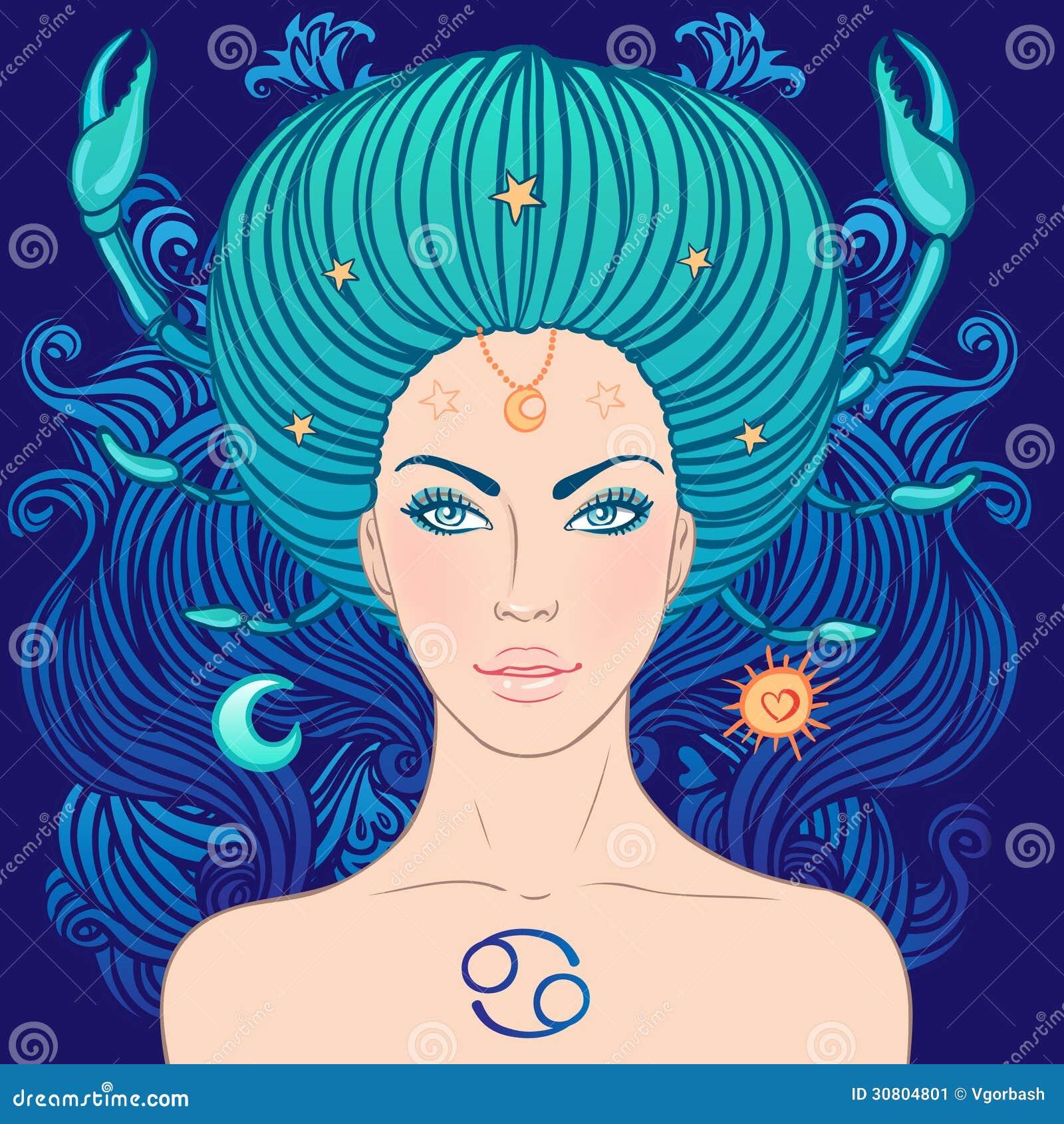 Illustrazione del segno dello zodiaco del cancro come bella ragazza