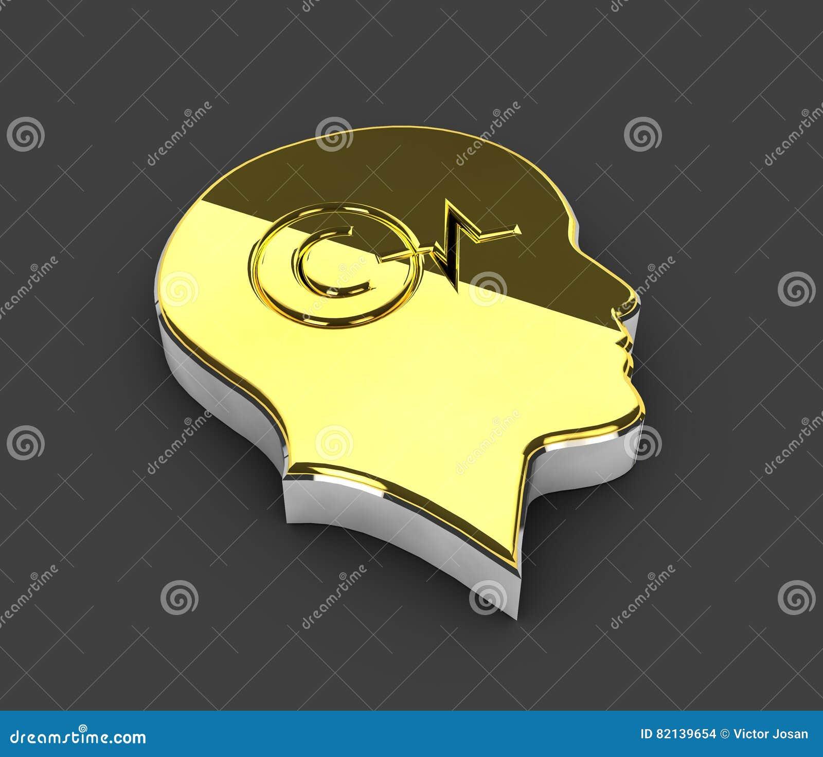 Illustrazione del simbolo di Copyright dell oro su fondo grigio