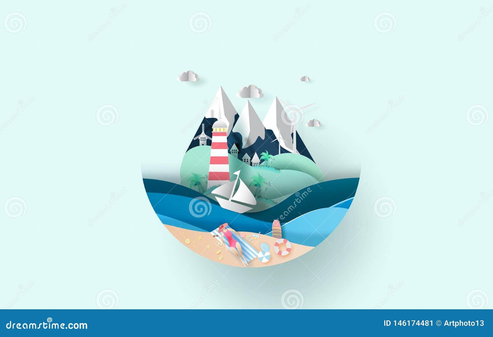 Illustrazione del viaggio nel concetto del cerchio di stagione estiva di vacanza di festa, donna creativa di signora di estate ch