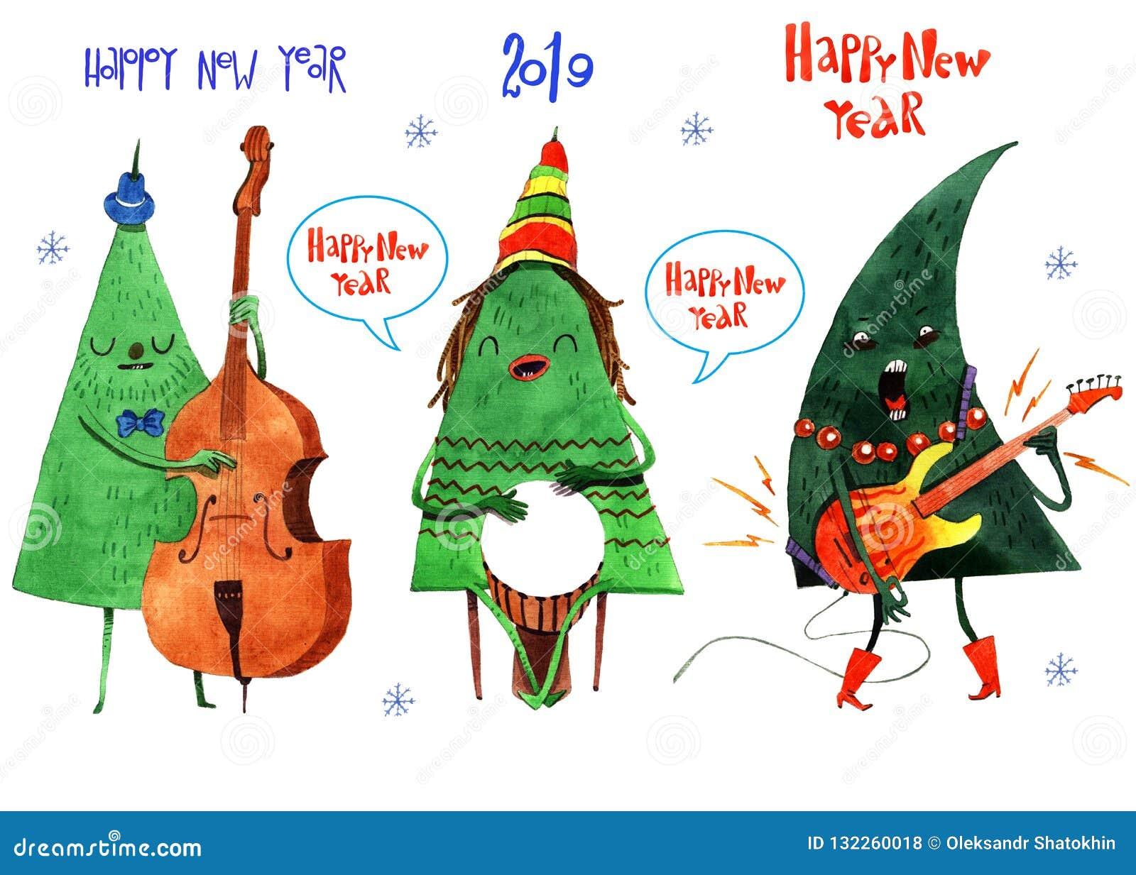 Illustrazione dell acquerello del Natale e dell albero del nuovo anno, fondo, cartolina, intestazione, congratulazione, buon anno