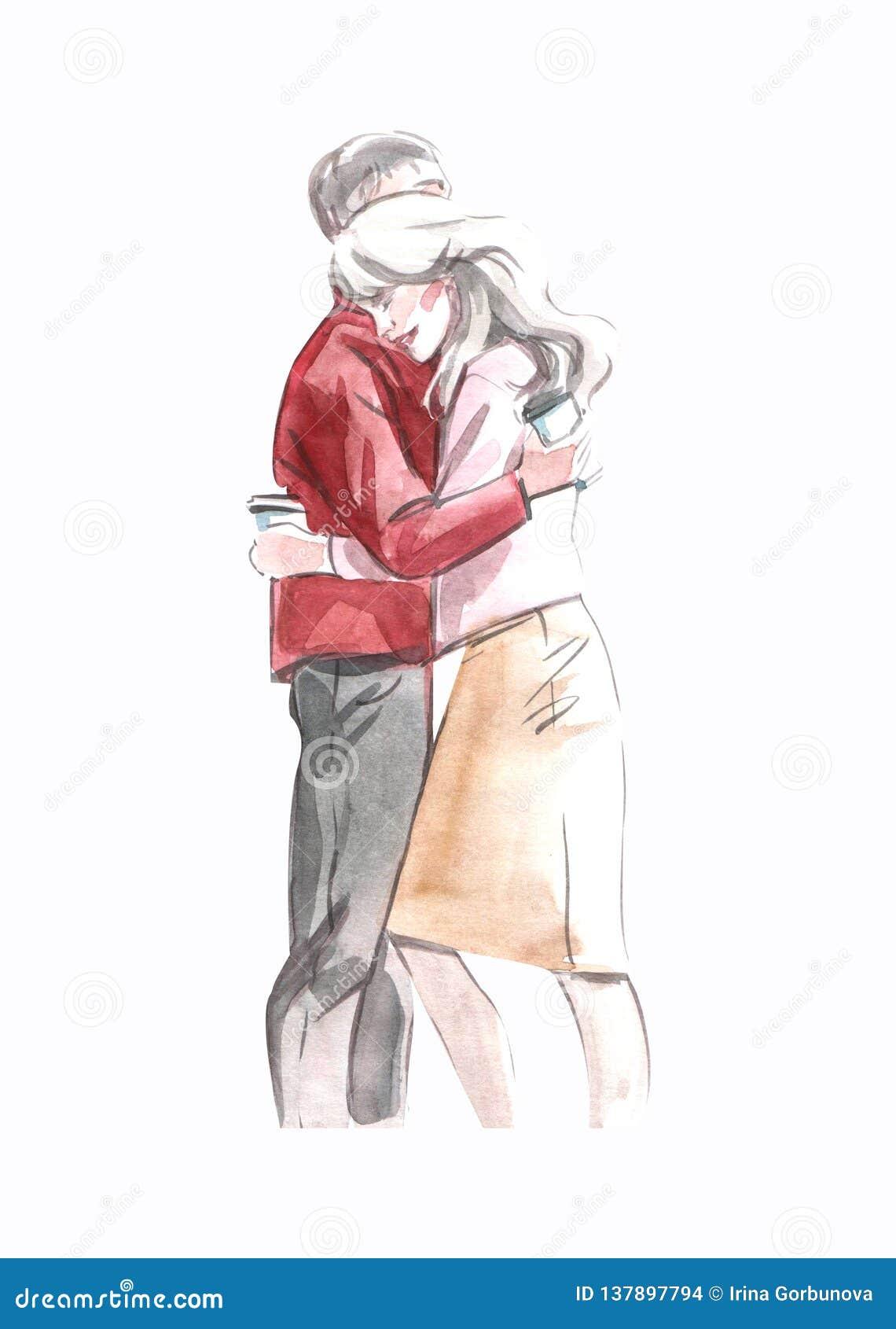 Illustrazione dell acquerello di una coppia degli amanti che abbraccia tenendo caffè in tazze di carta isolate su fondo bianco