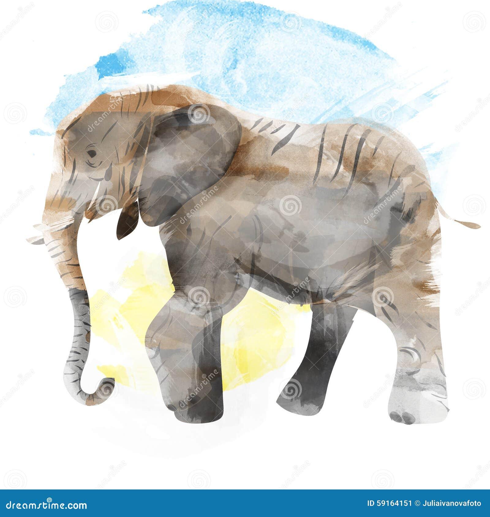 Illustrazione dell 39 acquerello dipinta elefante - Elefante foglio di colore dell elefante ...