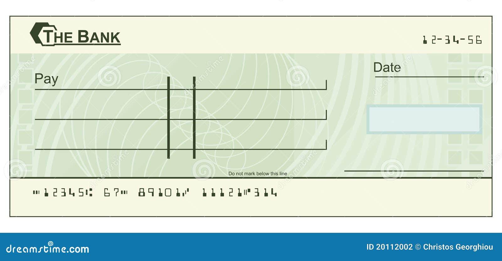 Illustrazione dell assegno in bianco