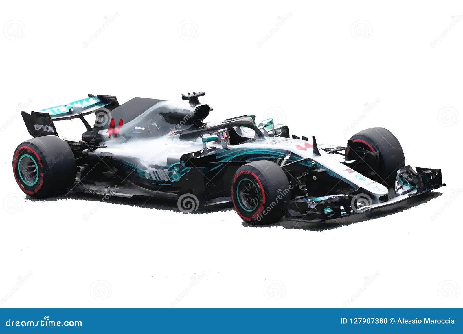 Illustrazione dell automobile di Lewis Hamilton F1