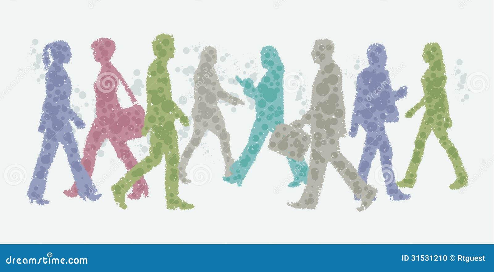 Illustrazione dell avatar - siluette di camminata della gente