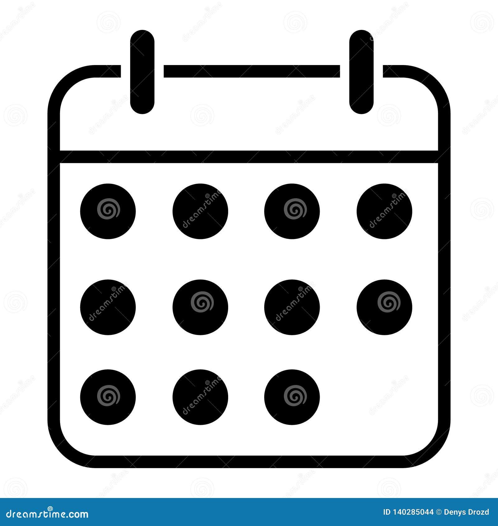 Simbolo Calendario.Illustrazione Dell Icona Di Vettore Del Calendario