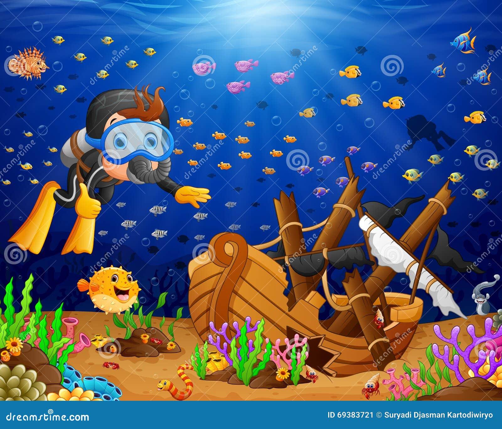 Illustrazione dell operatore subacqueo sotto il mare