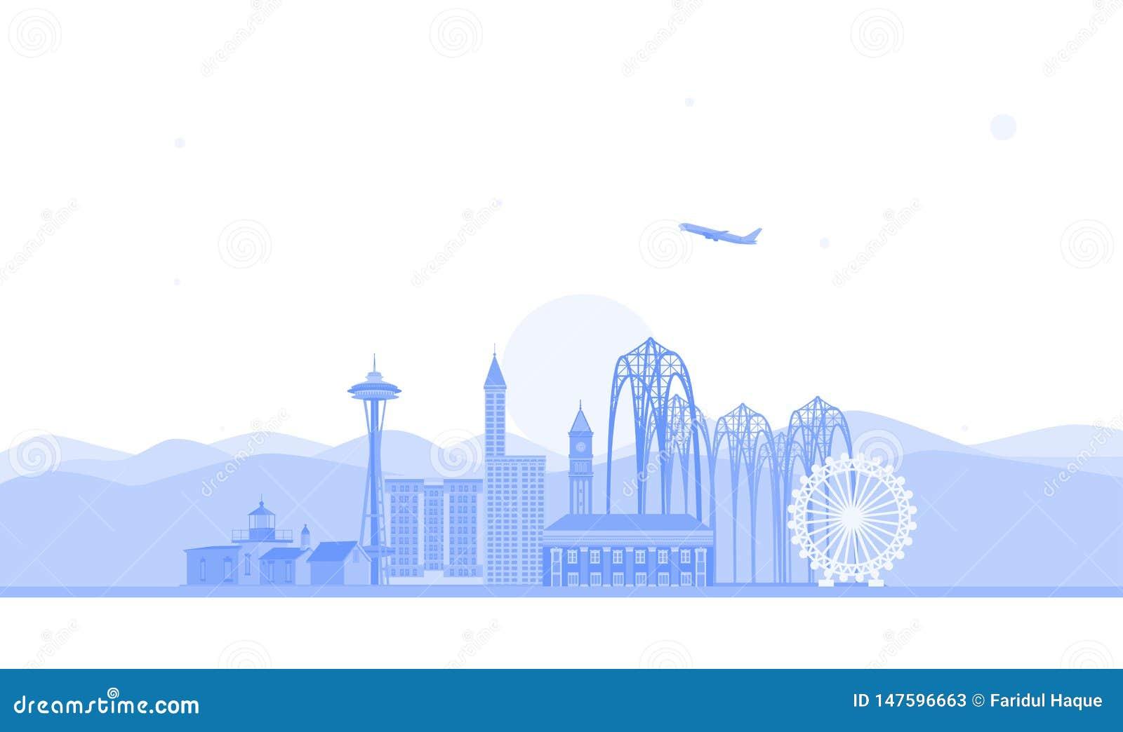 Illustrazione dell orizzonte di Seattle Illustrazione piana di vettore Concetto di viaggio d affari e di turismo con le costruzio
