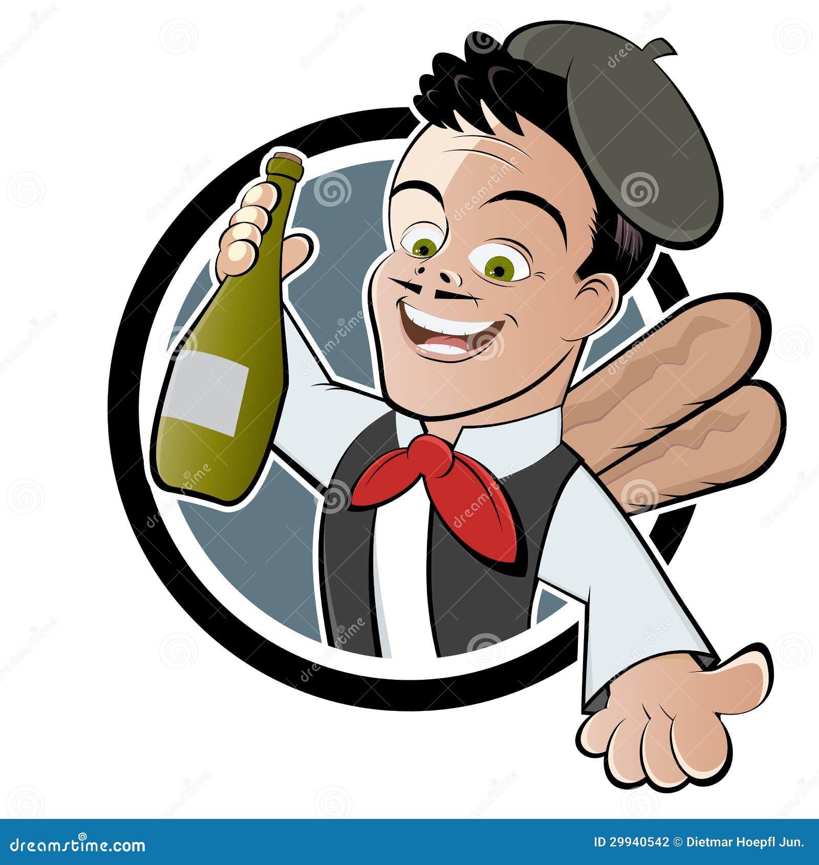 Uomo francese con la bottiglia di vino fotografia stock for Bottiglia in francese