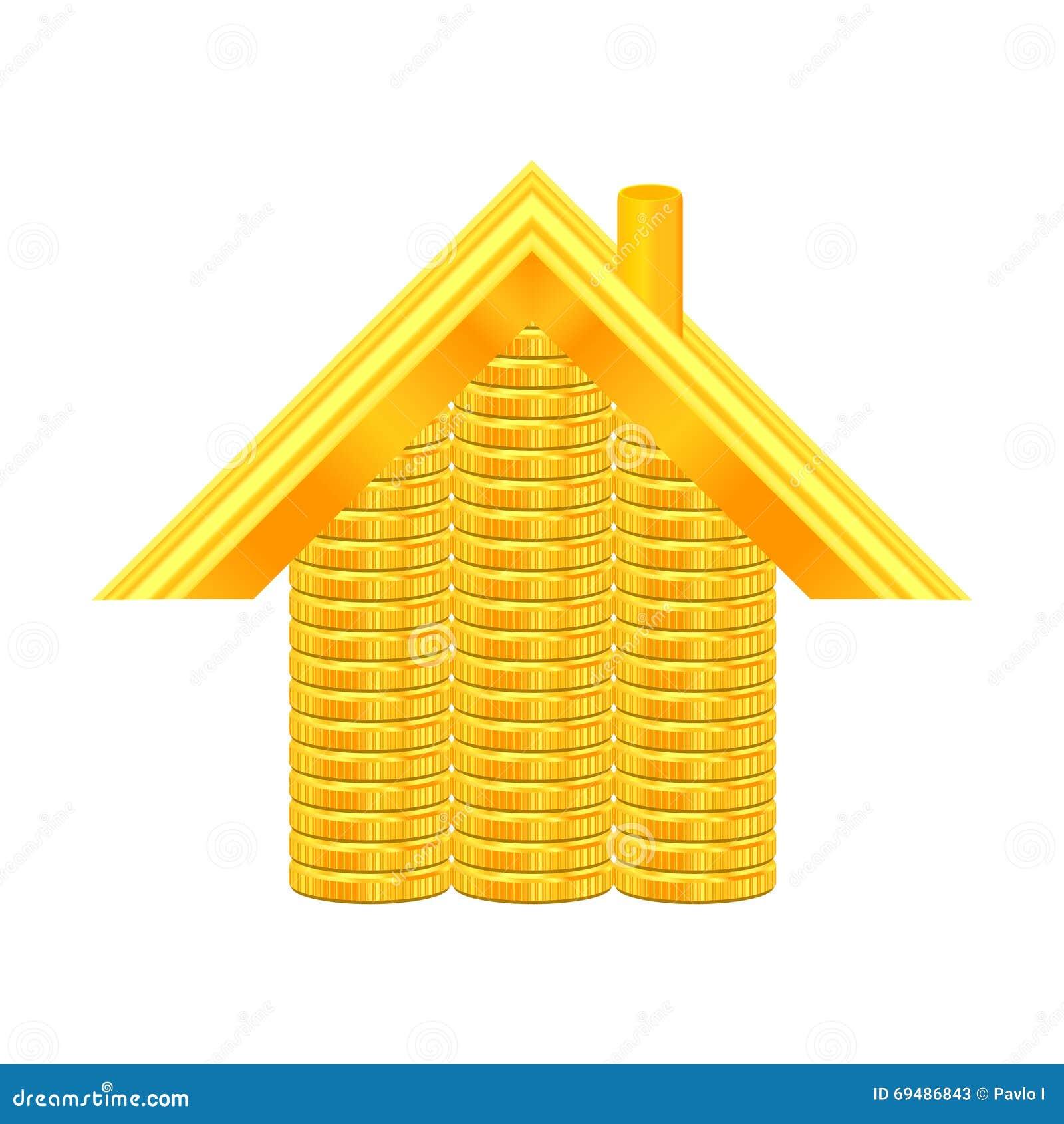 Illustrazione della casa delle monete di oro per for Progettazione della casa territoriale