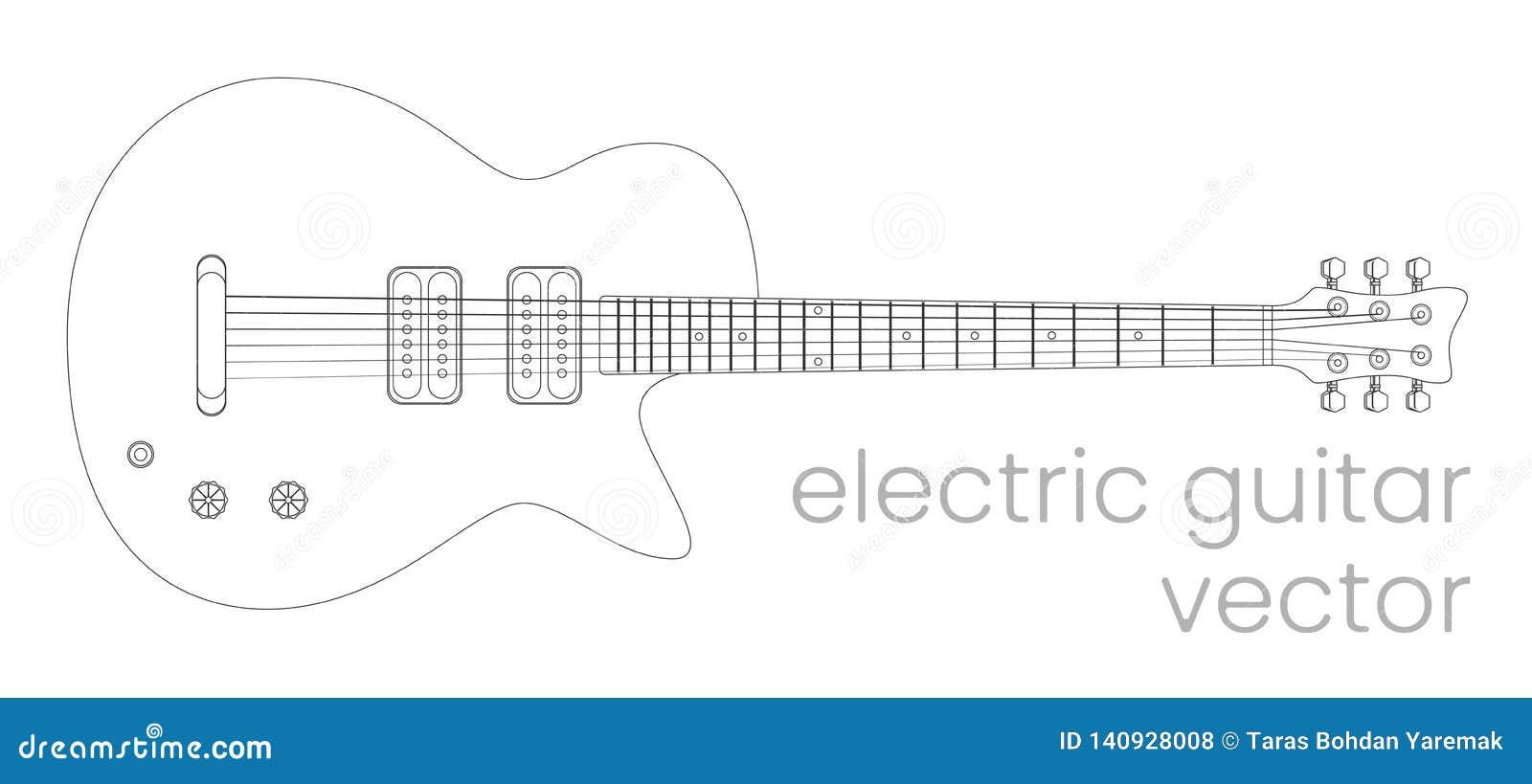 Illustrazione della chitarra elettrica Strumento di musica rock Linea schizzo di vettore