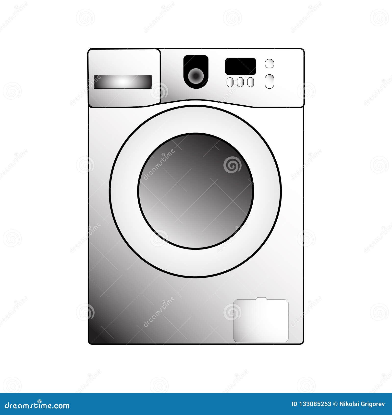 Illustrazione della lavatrice di vettore su un fondo bianco