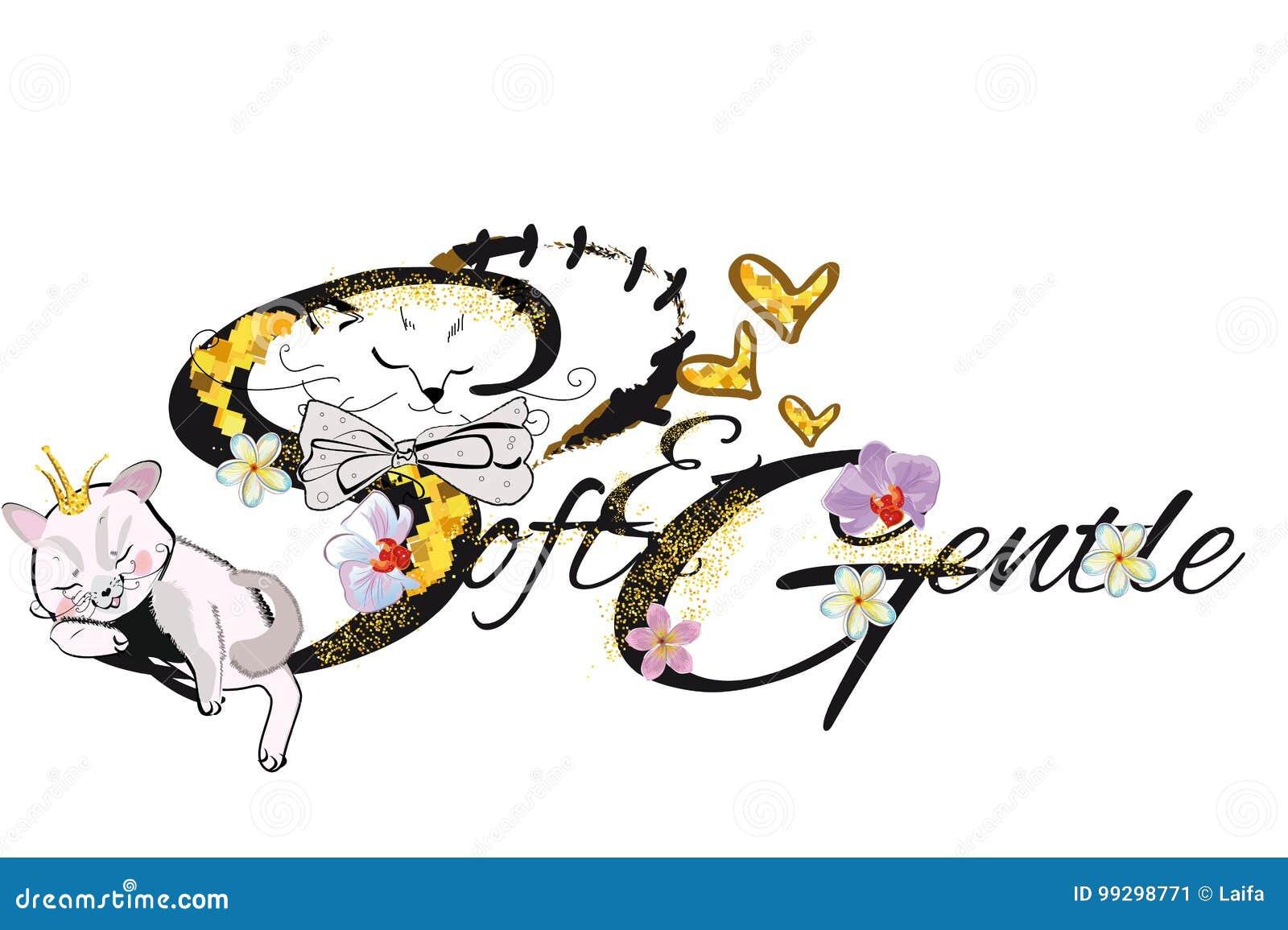 Illustrazione della maglietta di vettore di slogan con il gatto lanuginoso