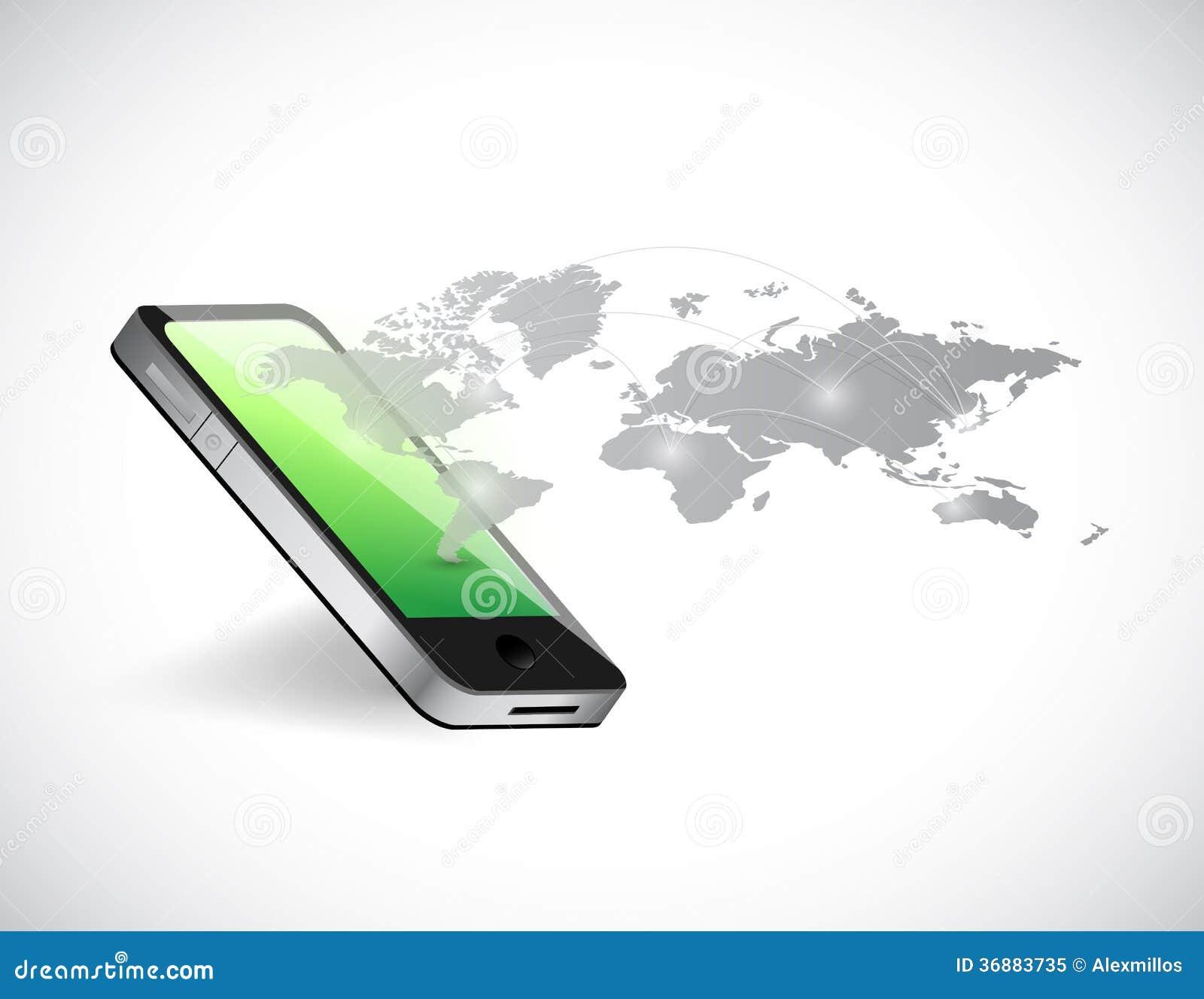 Download Illustrazione Della Mappa Del Collegamento Della Mappa Di Mondo E Del Telefono Illustrazione di Stock - Illustrazione di tecnologia, simbolo: 36883735