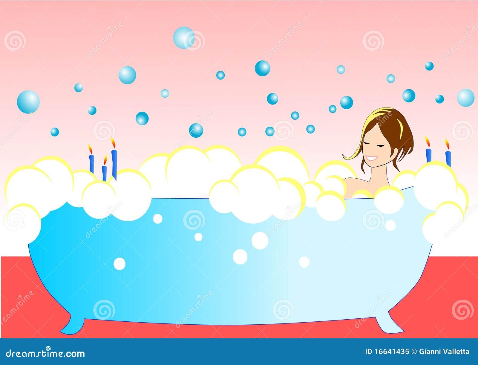Illustrazione della ragazza sexy nella vasca da bagno - Candele da bagno ...