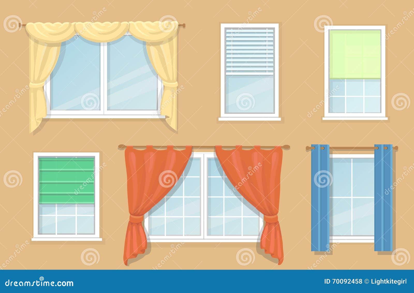 Illustrazione delle opzioni di progettazione e tipi di tende di finestre illustrazione - Tipi di finestre ...