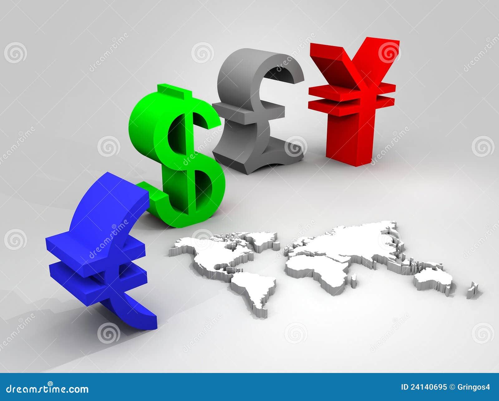 Illustrazione delle valute commerciali universalmente