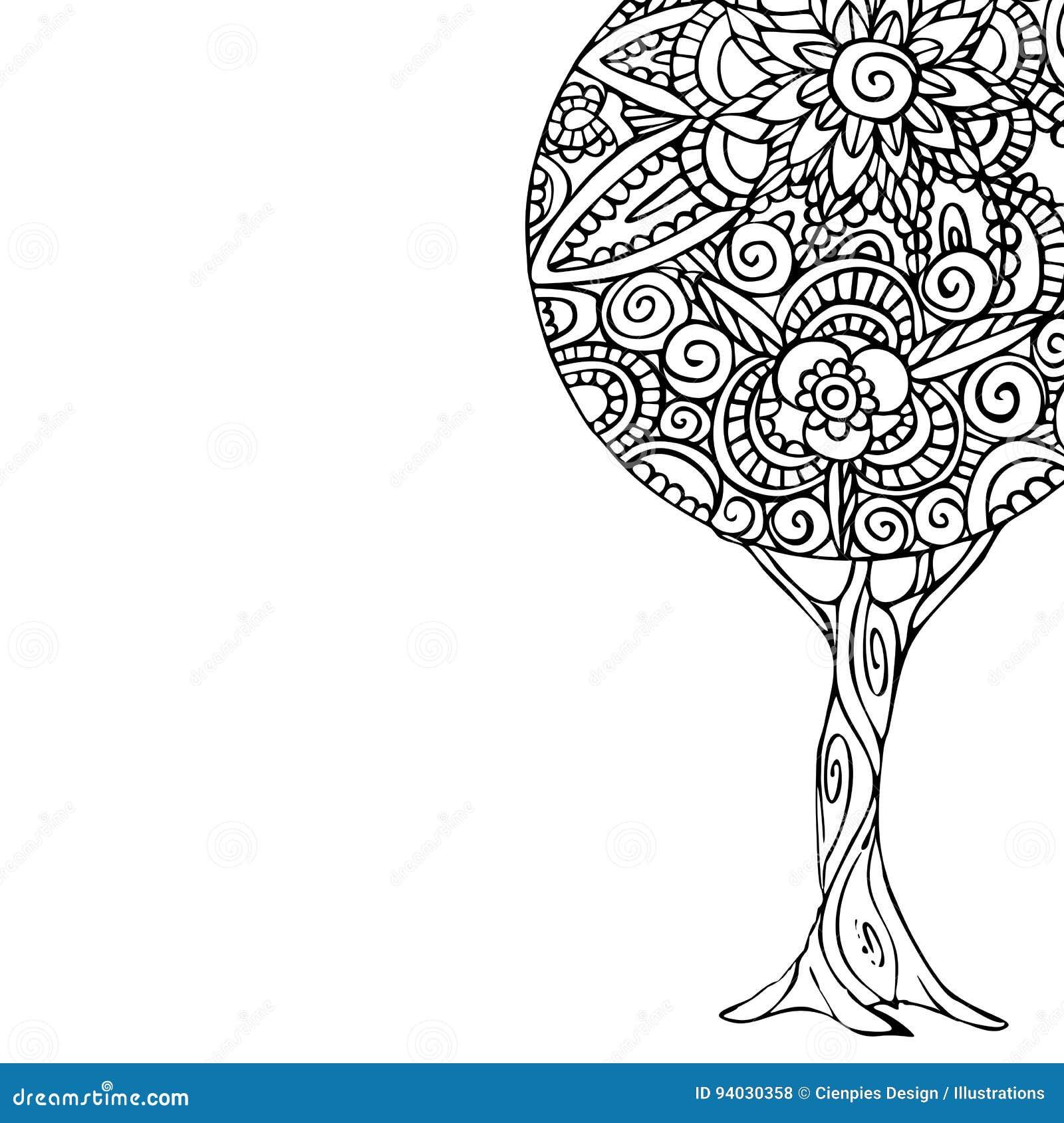 Illustrazione Di Arte Della Mandala Dellalbero Per Il Libro Da