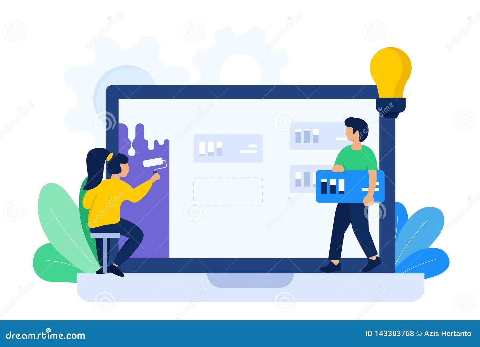 Illustrazione di collaborazione dello sviluppatore e del progettista
