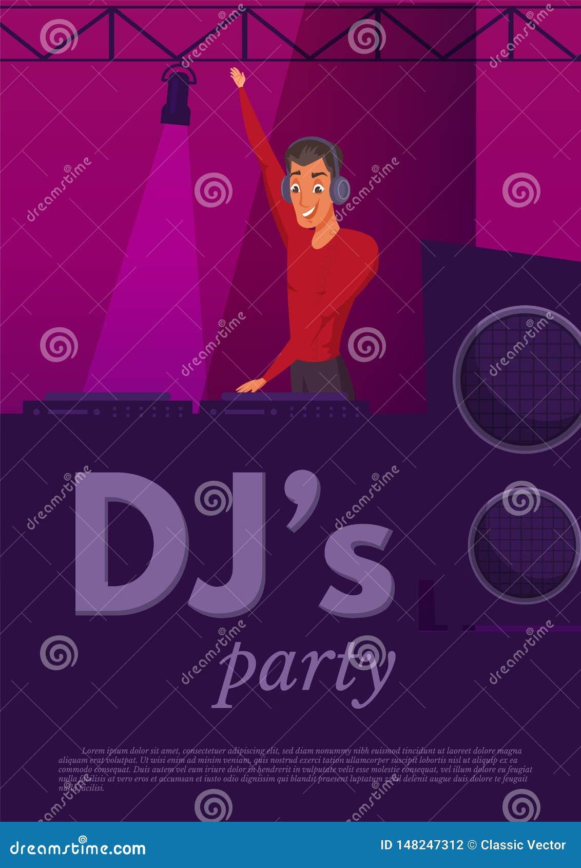 Illustrazione di colore piana di prestazione del night-club del DJ