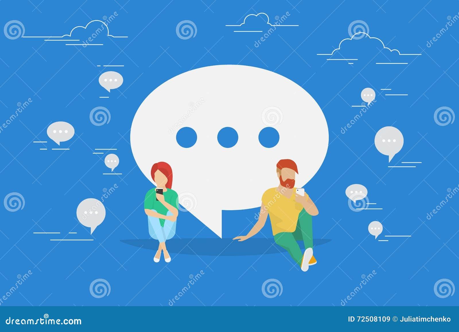 Illustrazione di concetto di conversazione di chiacchierata