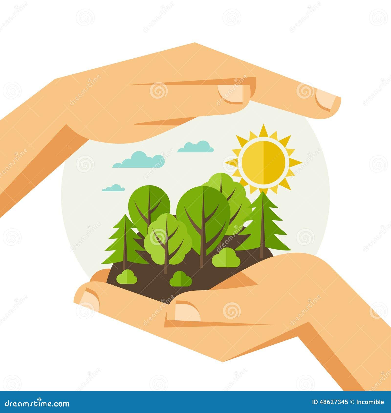 Illustrazione di concetto di protezione di ecologia