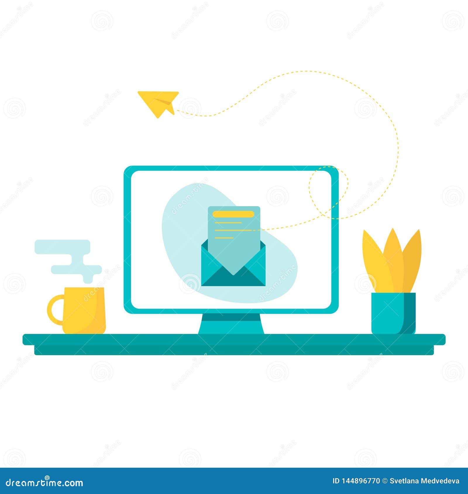 Illustrazione di concetto di vettore - processo del lavoro della pubblicit? della rete sociale, nuova offerta