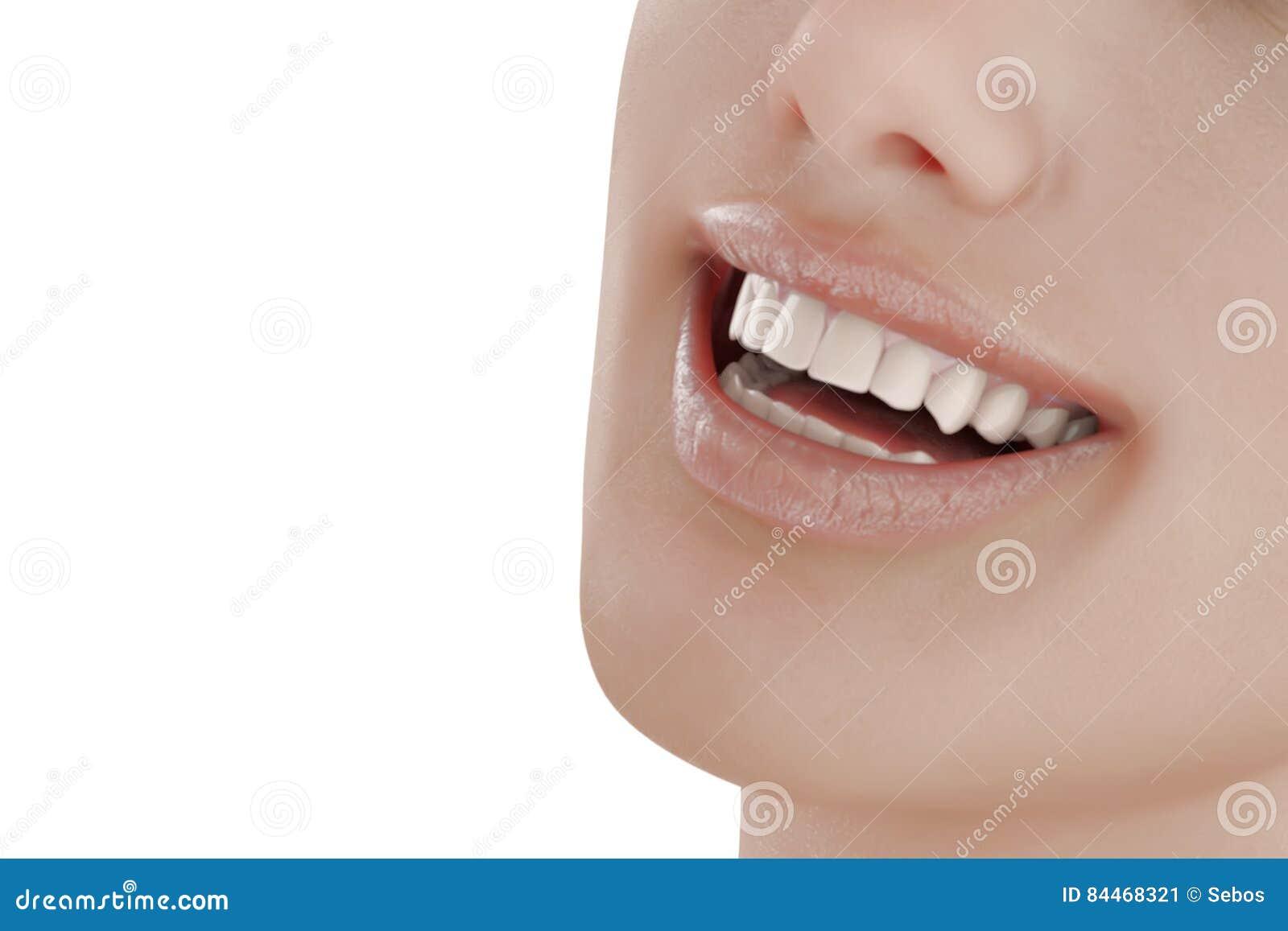 Illustrazione di cure odontoiatriche Denti perfetti Primo piano di bello e sorriso sano della donna