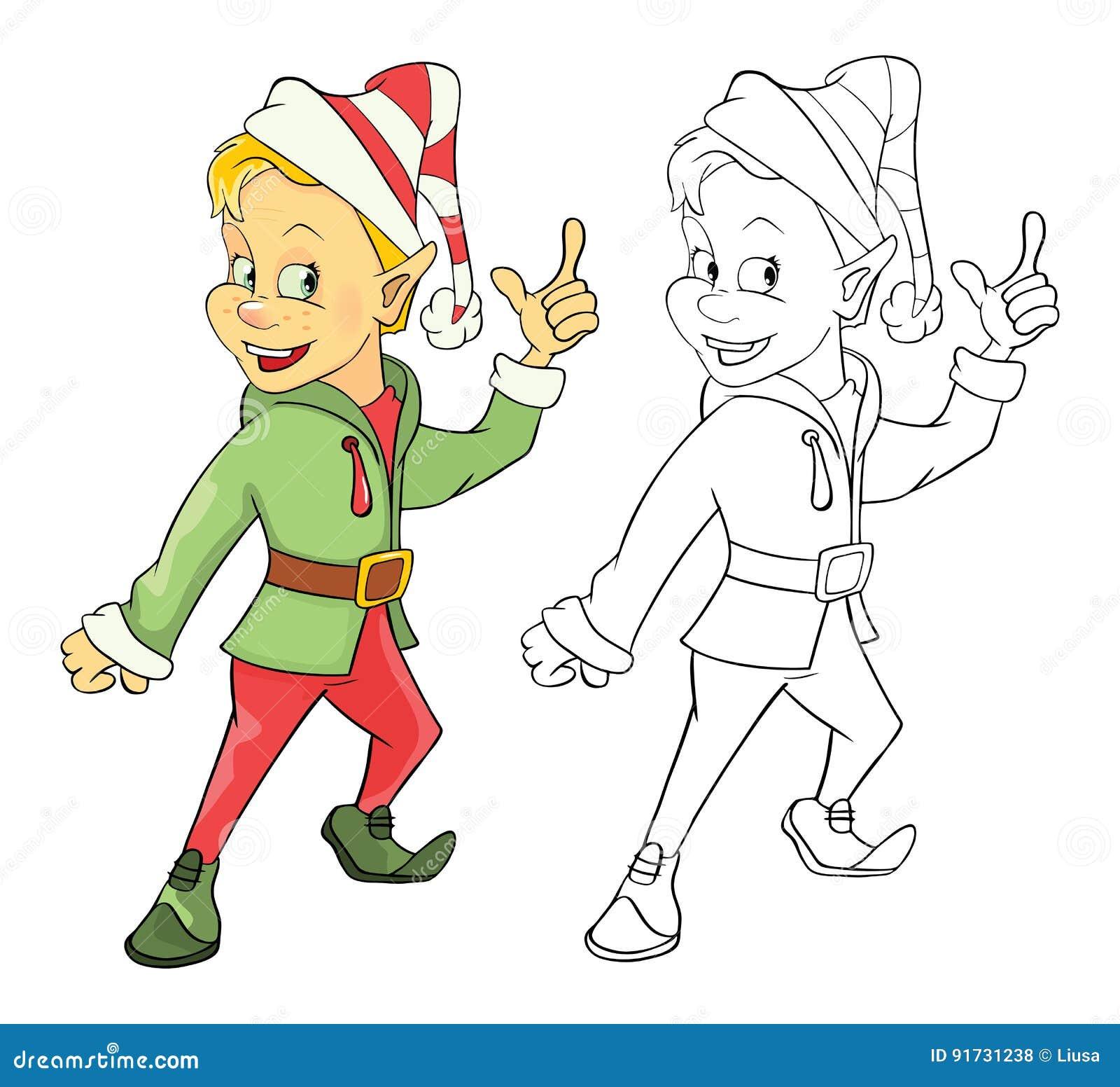 Illustrazione Di Elf Sveglio Libro Da Colorare Del Personaggio Dei