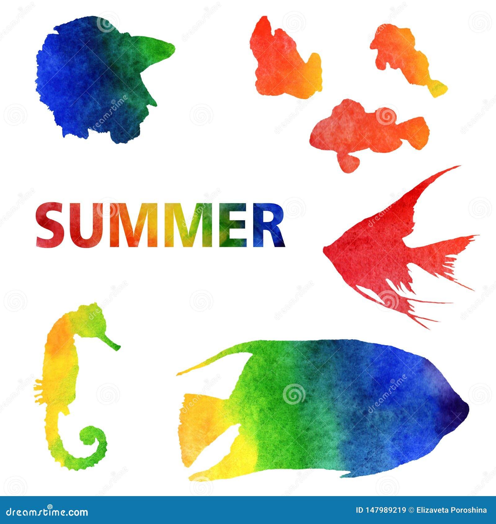 Illustrazione di estate dell acquerello Metta dei pesci di arcobaleno dipinti a mano