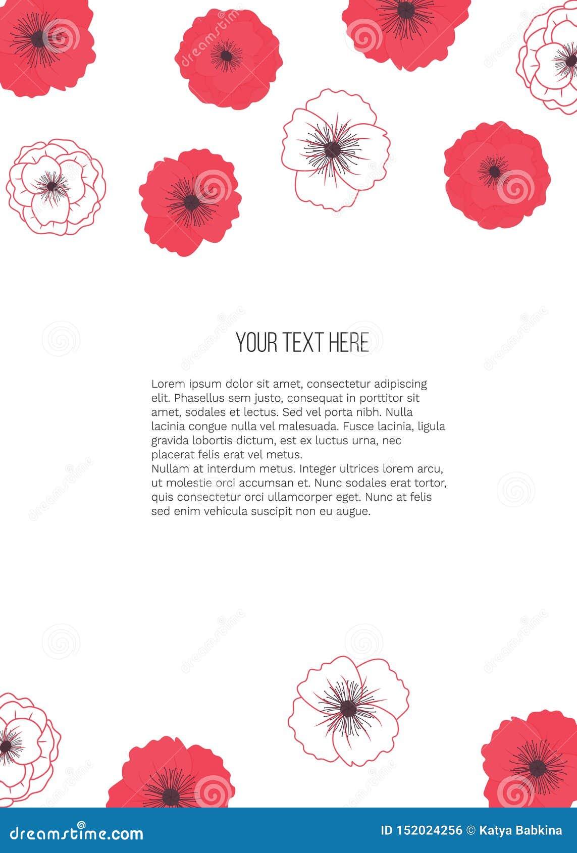 Illustrazione di estate di vettore con i fiori dei papaveri con il posto per testo su fondo bianco