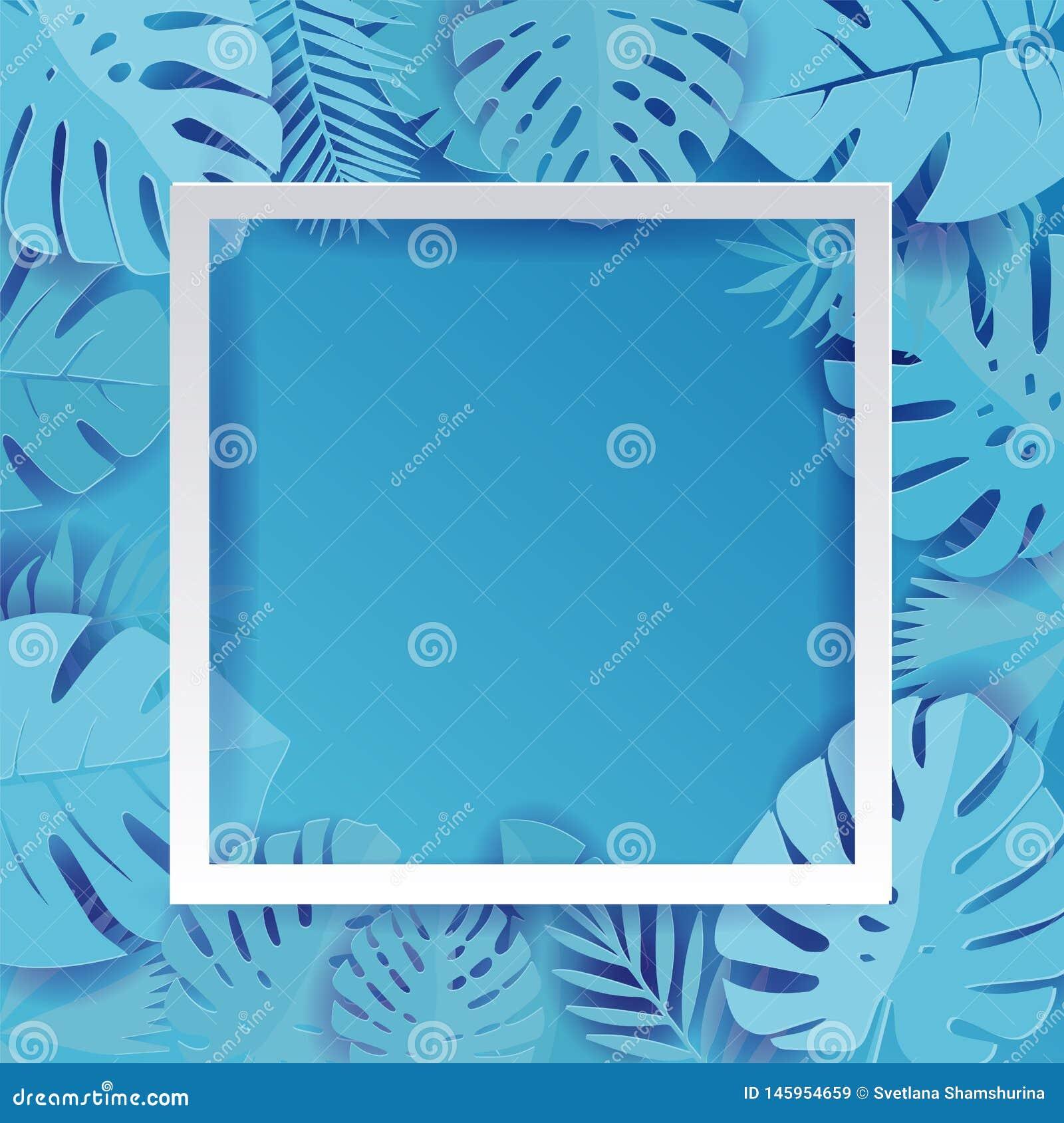 Illustrazione di foglia di palma blu del fondo di vettore nello stile tagliato di carta Palma luminosa della foresta pluviale tro