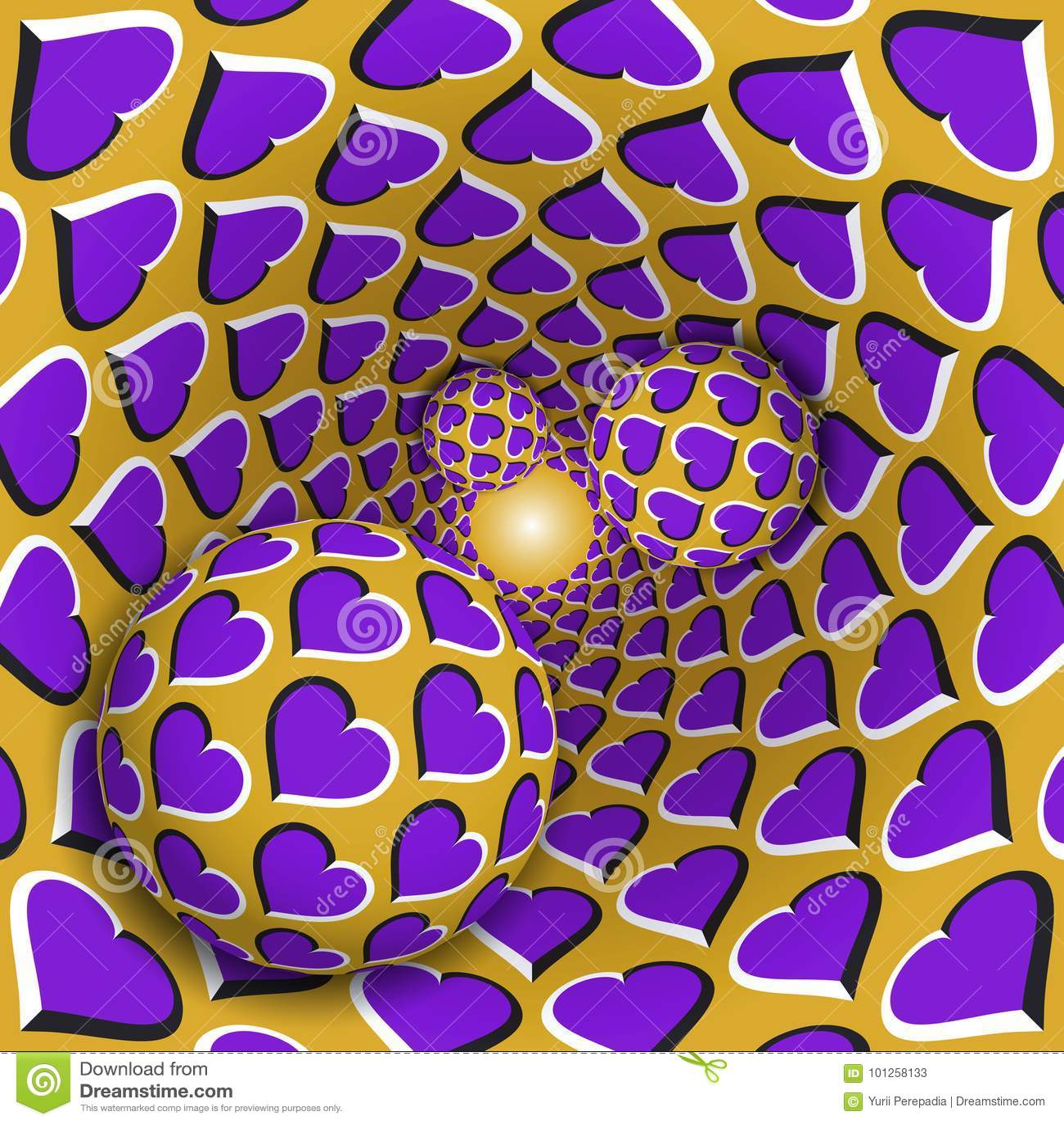 Illustrazione di illusione ottica Tre palle con un modello dei cuori stanno muovendo l imbuto dorato sopra girante delle Purple H