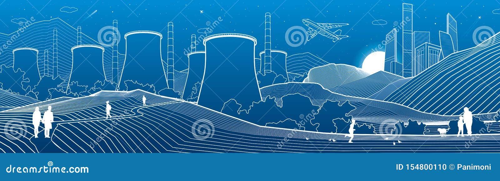 Illustrazione di industria del profilo panoramica Scena della citt? di notte La gente che cammina al giardino Centrale elettrica