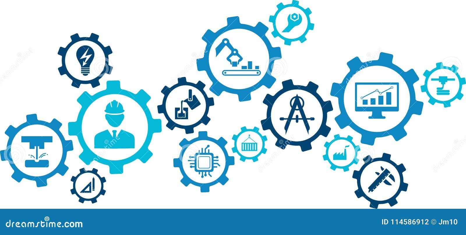 Illustrazione di ingegneria: digitalizzazione, tecnologia, innovazione - concetto astratto