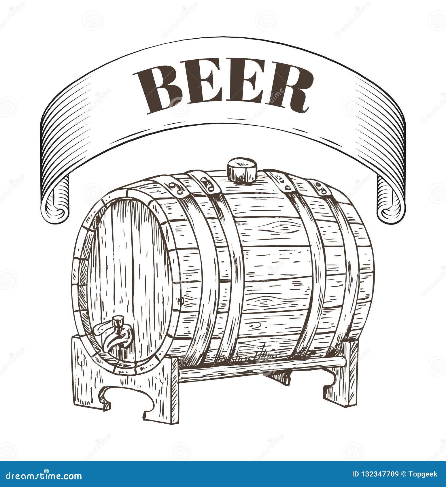 Illustrazione di legno di vettore del barilotto di stoccaggio della birra