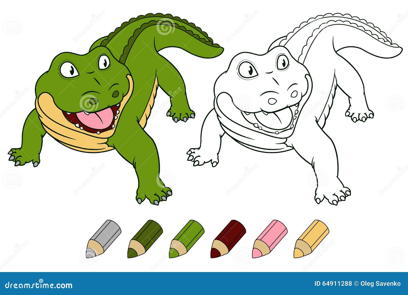 Illustrazione Di Libro Da Colorare Di Vettore Del Coccodrillo Del