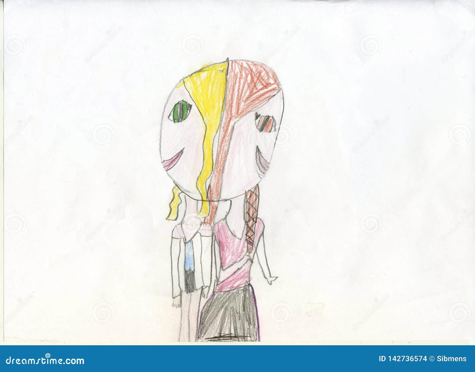 Illustrazione Di Matita Ragazze Gemelli Siamesi Disegni Del S