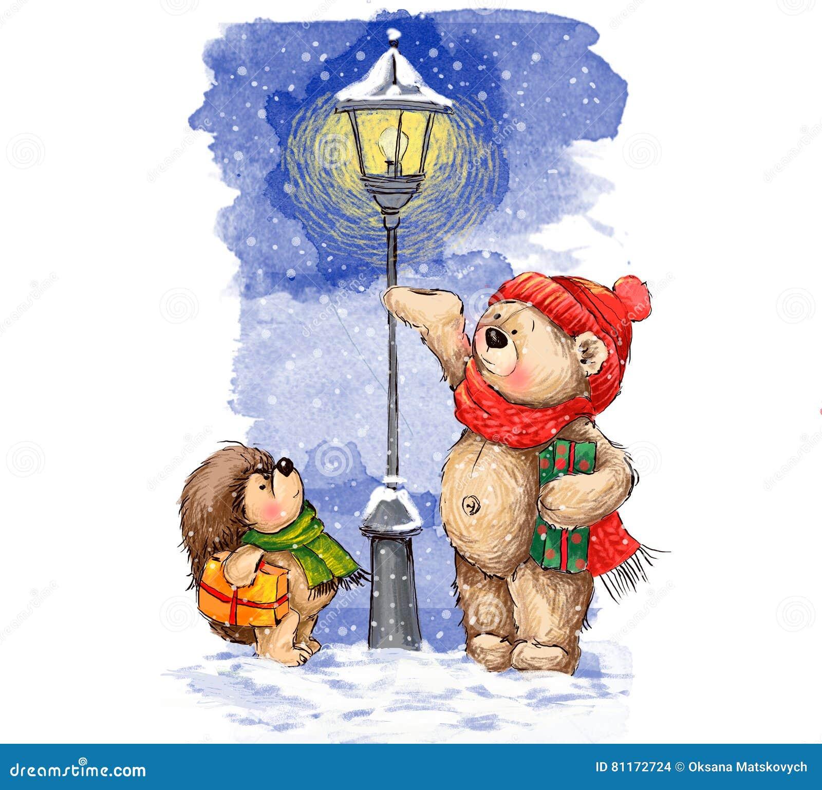 Illustrazione di Natale Orso ed istrice svegli con i regali di natale