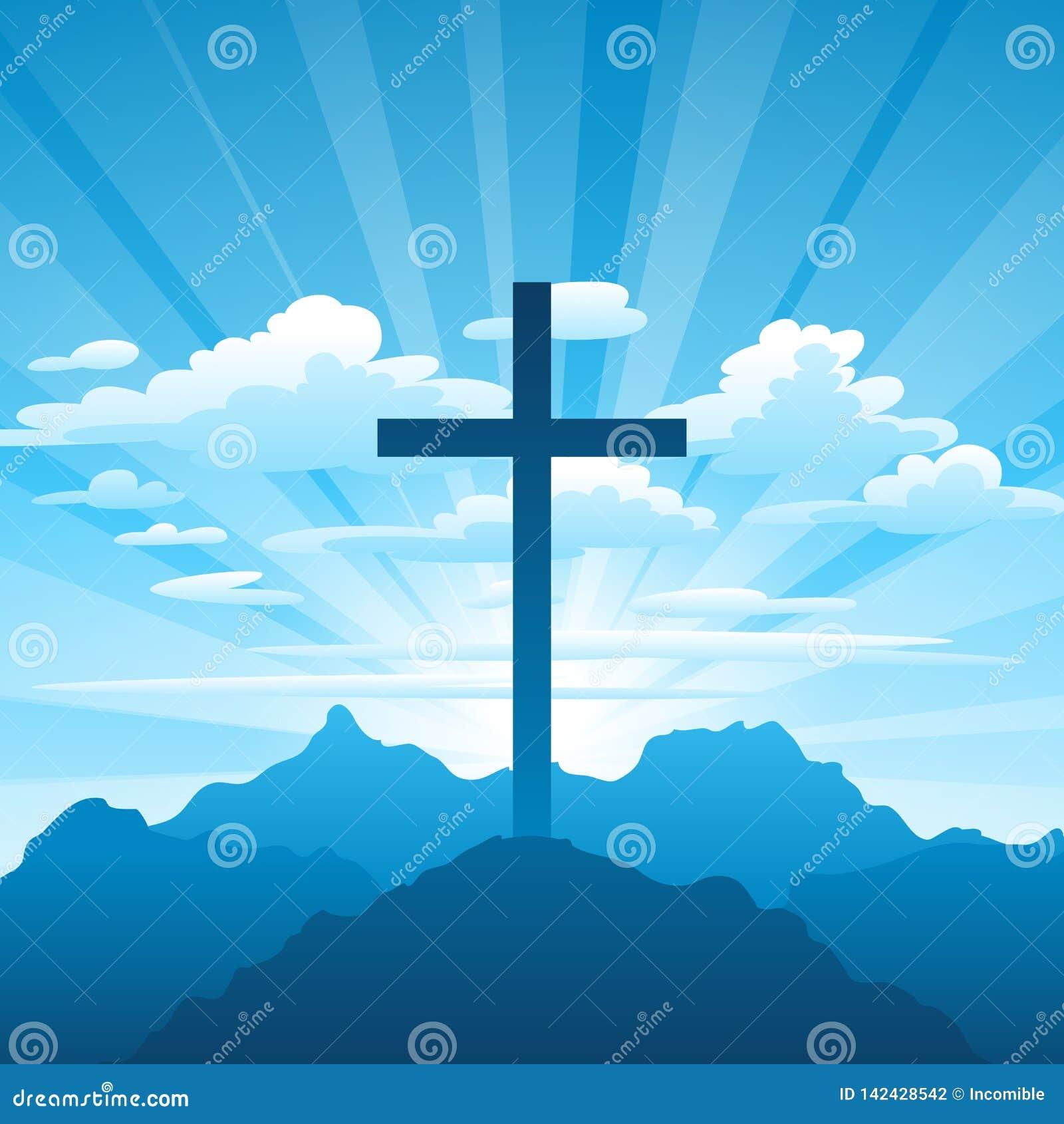 Illustrazione di Pasqua Cartolina d auguri con l incrocio e le nuvole